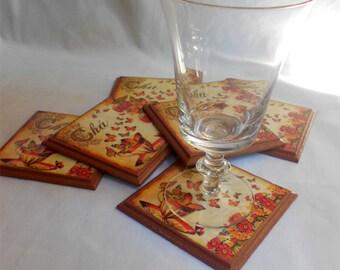 Handmade decoupage coasters/wooden decoupage coasters/ cup coasters/butterfly coasters