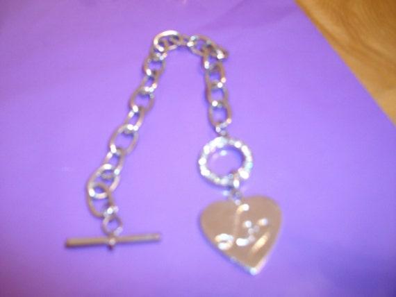 Love heart charm bracelet silver tone diamante circular ring style