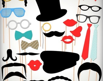 INSTANT DOWNLOAD- 25 Printable Photobooth Props-Wedding Photobooth Props