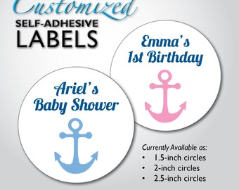 Custom NAUTICAL Baby Shower Stickers, 1st Birthday, Wedding Favor Labels, Bridal Shower, Candy Buffet Bag, Mason Jar, Envelope Seals, Anchor