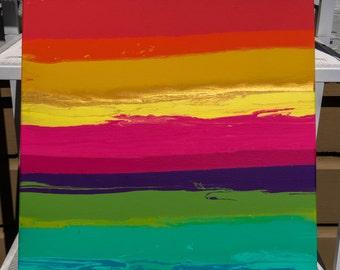 16x20 Original Rainbow Acrylic Canvas Painting