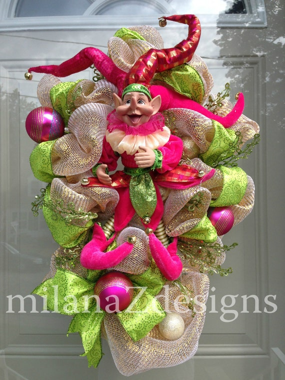 Holiday deco mesh wreath whimsical pink and green christmas
