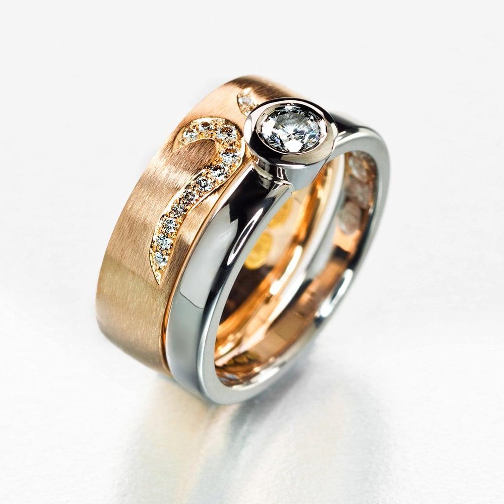 Unique Wedding Bands: Unique Engagement Ring Set Wedding Ring Set Two Tone Ring