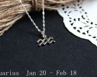 Aquarius Constellation Necklace. Aquarius Zodiac Necklace. February Zodiac Necklace. Personalized Zodiac. Constellation Pendant.