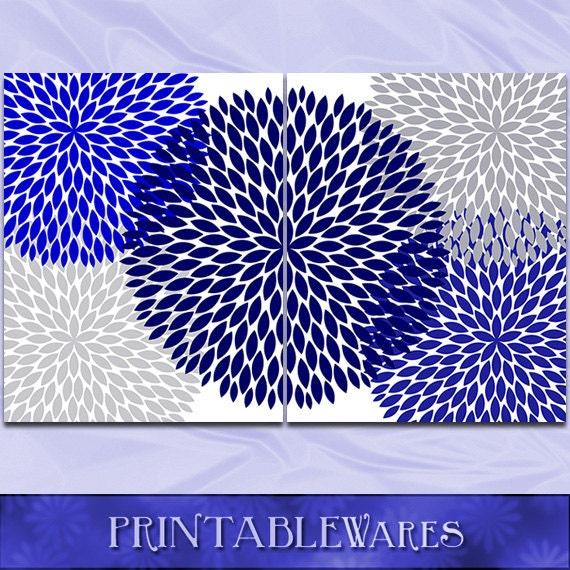 Blue And Gray Bathroom Wall Decor : Items similar to navy blue and gray wall art