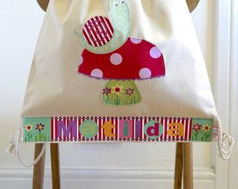 Girls toadstool & snail canvas bag