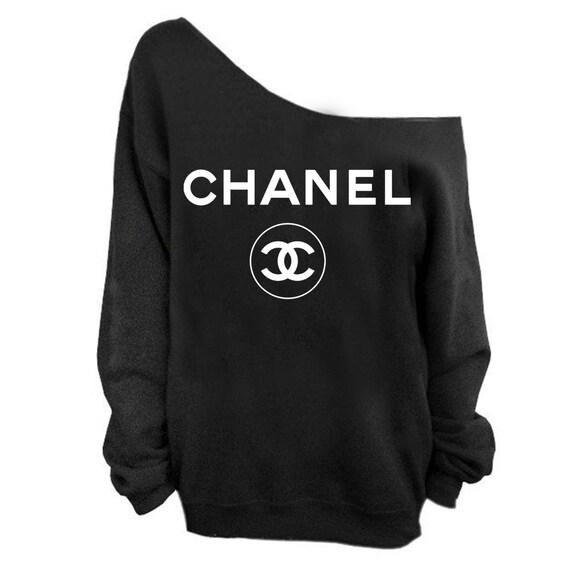 chanel sweatshirt slouchy cc women sweatshirt coco by getcustom on the hunt. Black Bedroom Furniture Sets. Home Design Ideas
