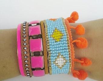 Boho chic friendship bracelet - leather hippie bohemian style