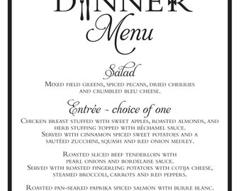 Elegant Wedding Rehearsal Dinner Menu {Digital File}