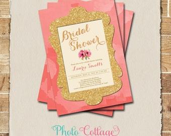 Bridal Shower Invitation, Gold Glitter Invitation, Coral U0026 Gold Invitations,  Bridal Shower,