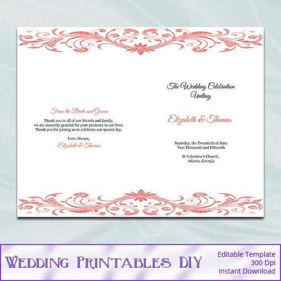 Coral Wedding Program Template Diy By WeddingPrintablesDiy On Etsy