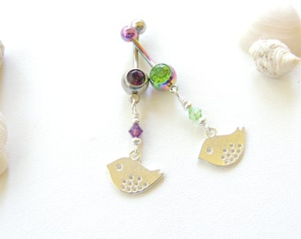 SALE!! Love Bird Belly Button Ring You Choose Color, Navel Piercing, Curved Barbell, Belly Button Ring, BFF Gift Idea. 109