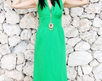 Vintage 70s Green Polyester Maxi Dress S // M