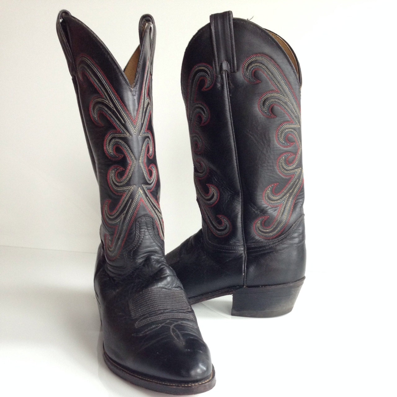 mens size 10 d black leather cowboy boots by tocanycfashion