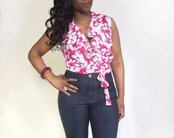 Red White & Blue Floral Print Frill Wrap Crop Blouse Top - available in 5 sizes