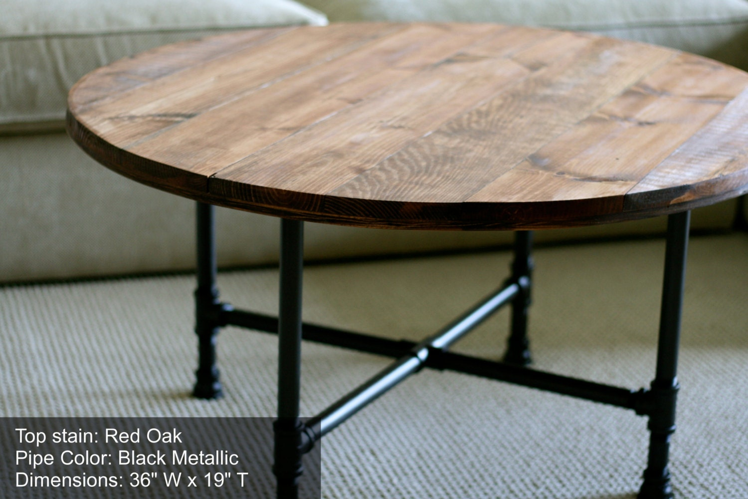 Round industrial coffee table reclaimed by sumsouthernsunshine Round rustic coffee table