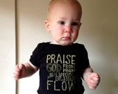 Doxology Hymn Bodysuit - Black Screen Print, Unisex, Praise God From Whom all Blessings Flow, American Apparel size 6-12 Months