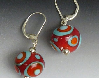 Tribal Earrings in Red or Frosted Black-White or Brown-Turquoise: handmade glass lampwork beads with sterling silver components