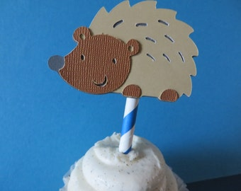 Hedgehog Party Picks  - birthday party picks, cupcake toppers