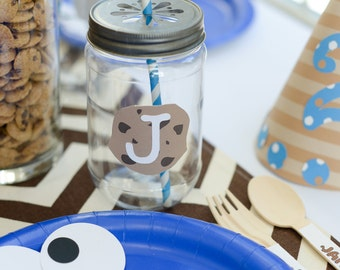 Set of 12 Cookie Monster Inspired Party Plates
