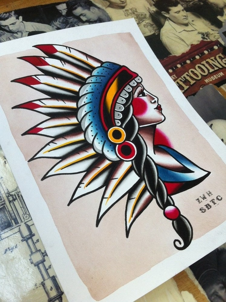 Traditional tattoo flash indian head pin up girl print for Traditional pin up tattoos