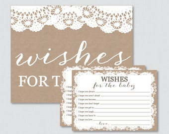 Wishes for Baby Baby Shower Activity Burlap and Lace Well Wishes for Baby Cards and Sign - Printable Instant Download - Burlap Lace 0063