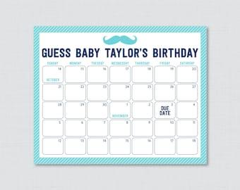 Shower Birthday Predi ctions Printable Baby Shower Due Date Calendar ...
