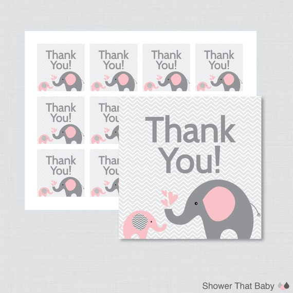 Baby Shower Gift Tags Printable Free: Printable Elephant Baby Shower Favor Tags Thank You Tag For