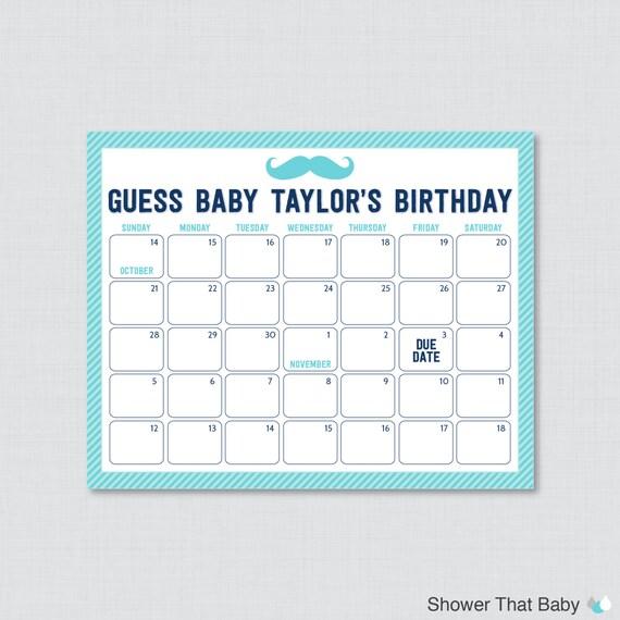 Birthday Date Poster: Mustache Baby Shower Birthday Predictions Printable Baby
