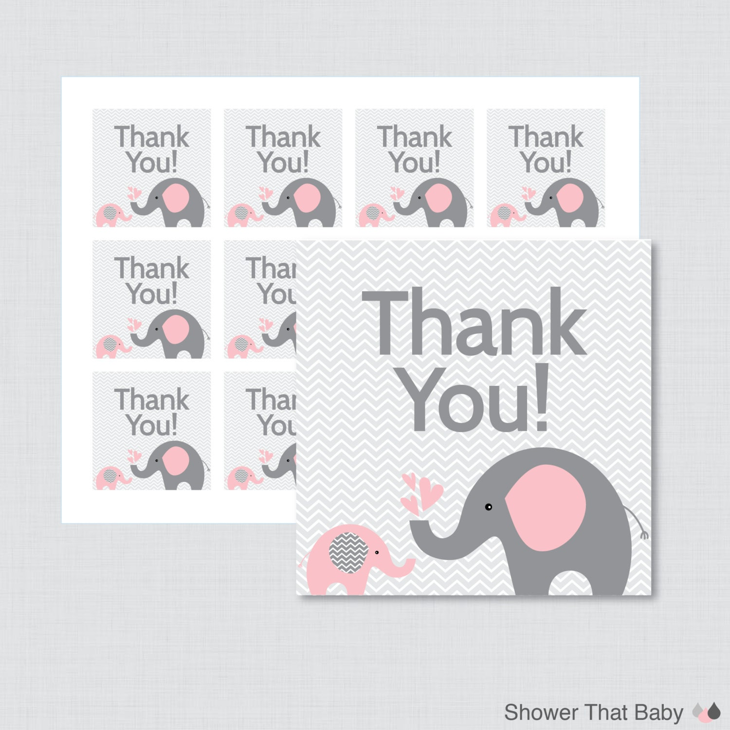 Printable elephant baby shower favor tags thank you tag for for Printable baby shower favor tags
