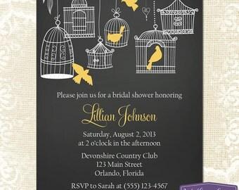 Yellow Bridal Shower Invitation - Hanging Bird Cage Bridal Shower Invite - Birds Chalkboard Wedding Shower Invitation - 1150 PRINTABLE