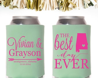 The Best Day Ever Wedding Favors: Custom and Personalized Can Cooler // State Arrow Heart Script
