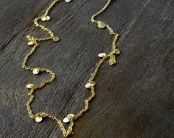 Long Simple Disc Necklace, Long Necklace, Simple Necklace