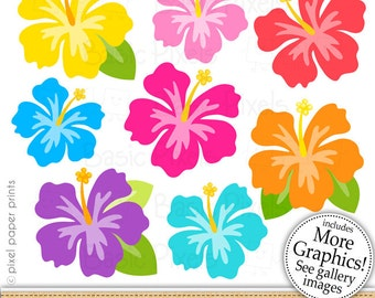 Hibiscus clipart - Hibiscus flower - Clip art - commercial use