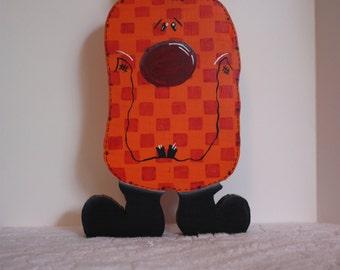 Halloween Pumpkin, Checkerboard Pumpkin, Halloween Pumpkin,Painted Pumpkins,Halloween Decor,Wood Pumpkin,Silly Pumpkin,Orange Pumpkin