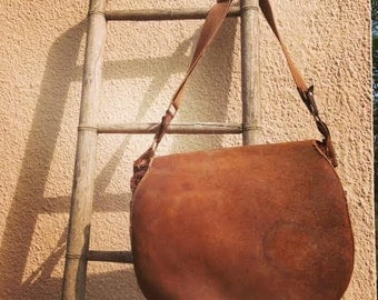 50s Vintage Leather French Hunting Bag