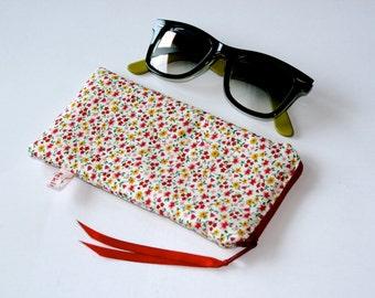 Glasses, eyeglasses bag Sun glasses, sunglasses, reading glasses, flowers, red, yellow, girl, teen, women, case