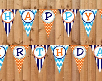 Goldfish Happy Birthday Banner- INSTANT DOWNLOAD - Printable Party Decorations