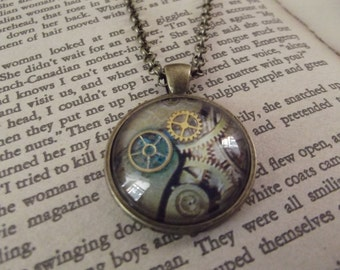 Steampunk Gears Round Glass Dome Pendant, Vintage look
