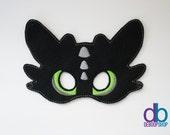 Black Dragon Felt Embroidered Mask
