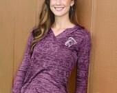 Ego Girl Outfitter Women Long Sleeve Shirt Burnout Hoodie (Purple), Featuring a Blue Horse