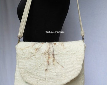 Handmade wool felt  textural surface bag, clutch with natural printed silk, detachable and adjustable strap