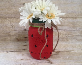 Watermelon Painted Mason Jar