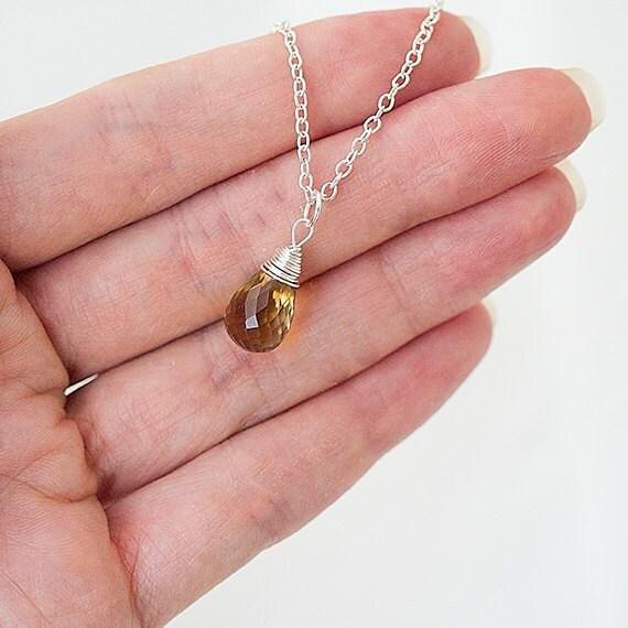 Delicate Necklace, Faceted Honey Quartz Necklace.