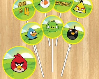 CUSTOMIZED - Angry Bird Cupcake Topper