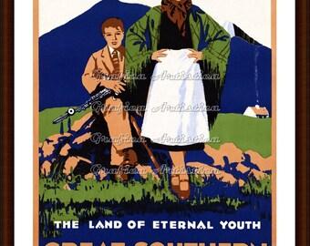 Vintage Ireland Travel Poster, Printable Instant Digital Download for DIY Projects