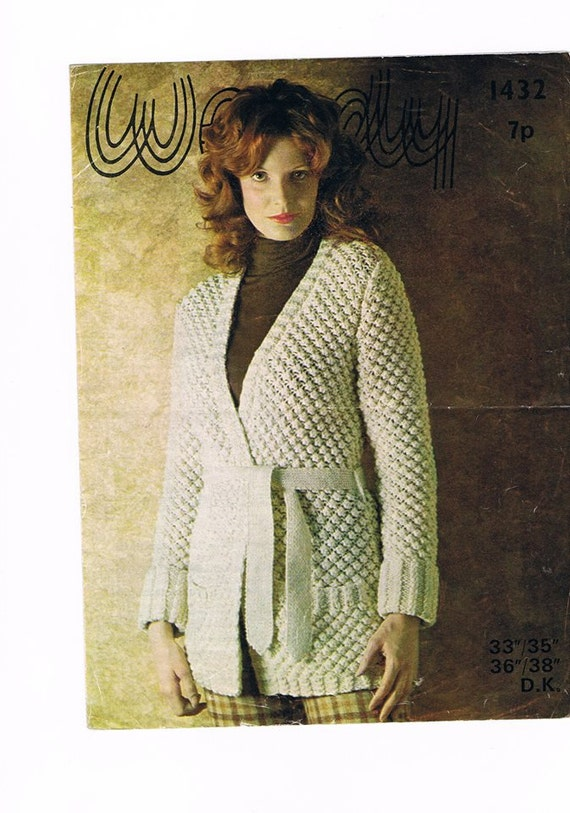 Knitting Patterns Ladies Jumpers Double Knit : Vintage pattern for ladies cardigan in Double Knitting.