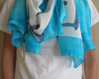 """Silk Scarf, 22""""x72"""", Edgy Collection-Lt/Dk Blues"""