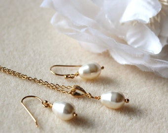 Pearl Wedding Jewelry Set Gold Bridesmaid Gift Jewelry Set White Cream Teardrop Swarovski Crystal Pearl Bridesmaid Earrings and Necklace Set
