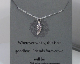 Wherever We Fly This Isn't Goodbye,Friend,Friendship Necklace,Friends,Necklace,Charm,Angel,Angel Wing,Angel Wing Necklace,Angel Necklace